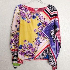 EUC CAbi Silk Artist Butterfly printed kimono top